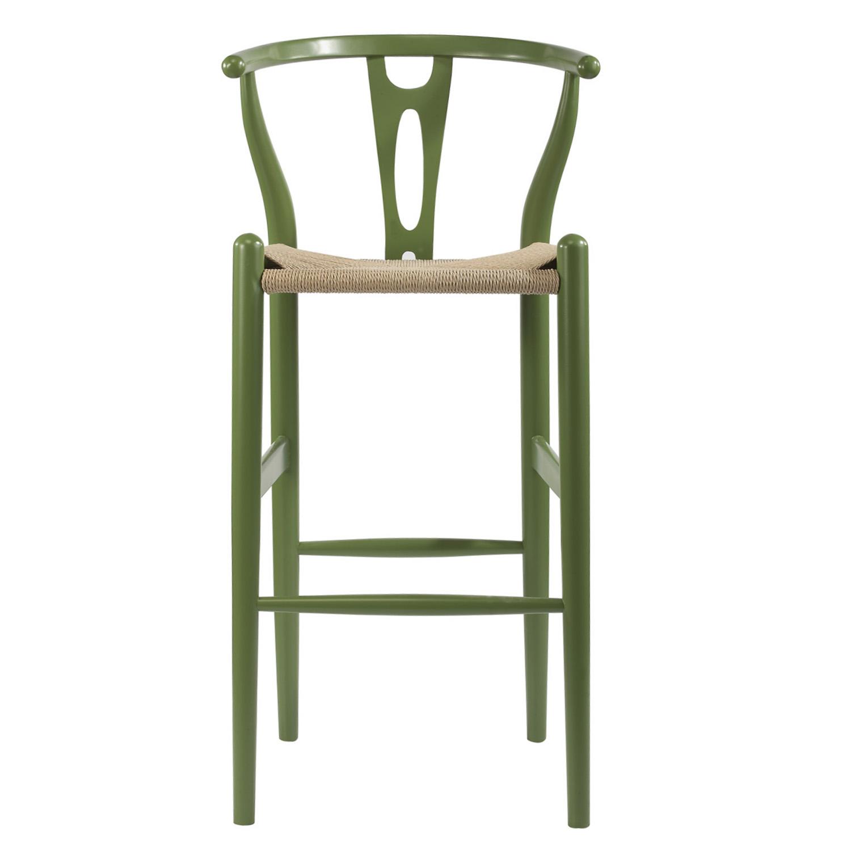midcentury modern wishbone stool green wood y stool bs541a