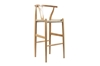 Wholesale Interiors Baxton Studio Mid-Century Modern Wishbone Stool - Natural Wood Y Stool