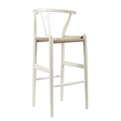 Mid-Century Modern Wishbone Stool - White Wood Y Stool Baxton Studio Mid-Century Modern Wishbone Stool - White Wood Y Stool, wholesale furniture, restaurant furniture, hotel furniture, commercial furniture