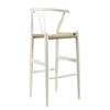 Wholesale Interiors Mid-Century Modern Wishbone Stool - White Wood Y Stool