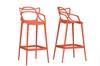 Wholesale Interiors Baxton Studio Electron Orange Plastic Contemporary Bar Stool (Set of 2)
