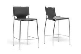 Baxton Studio Montclare Black Leather Modern Counter Stool (Set of 2) MONTCLARE BLACK LEATHER MODERN COUNTER STOOL, wholesale furniture, restaurant furniture, hotel furniture, commercial furniture