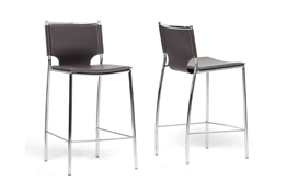 Baxton Studio Montclare Brown Leather Modern Counter Stool (Set of 2) Mott Dark Brown Wood Modern Desk with Sawhorse Legs (Large), wholesale furniture, restaurant furniture, hotel furniture, commercial furniture