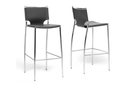 Baxton Studio Montclare Black Leather Modern Bar Stool (Set of 2) Mott Dark Brown Wood Modern Desk with Sawhorse Legs (Small), wholesale furniture, restaurant furniture, hotel furniture, commercial furniture