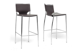 Baxton Studio Montclare Brown Leather Modern Bar Stool (Set of 2) Vittoria Black Leather Modern Counter Stool (Set of 2), wholesale furniture, restaurant furniture, hotel furniture, commercial furniture