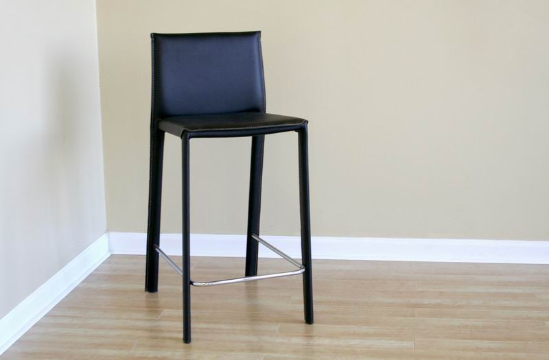 Crawford Black Leather Counter Height Stool Wholesale