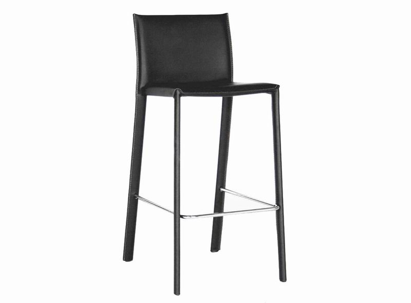 Baxton Studio Crawford Black Leather Counter Height Stool (Set Of 2)   ALC   ...