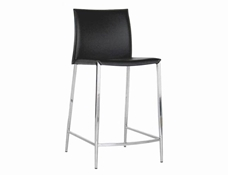 Baxton Studio Jenson Black Leather Counter Height Stool (Set of 2) Black Leather Counter Height Stool wholesale, wholesale furniture, restaurant furniture, hotel furniture, commercial furniture
