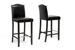 Baxton Studio Libra Black Modern Bar Stool with Nail Head Trim (Set of 2) Baxton Studio Libra Black Modern Bar Stool with Nail Head Trim (Set of 2), wholesale furniture, restaurant furniture, hotel furniture, commercial furniture