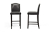 Baxton Studio Libra Black Modern Bar Stool with Nail Head Trim (Set of 2) - BBT5111 Bar Stool-Black