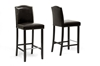 Wholesale Interiors Baxton Studio Libra Dark Brown Modern Bar Stool with Nail Head Trim (Set of 2)