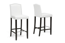 Baxton Studio Libra White Modern Bar Stool with Nail Head Trim (Set of 2) Baxton Studio Libra White Modern Bar Stool with Nail Head Trim (Set of 2), wholesale furniture, restaurant furniture, hotel furniture, commercial furniture