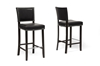 Wholesale Interiors Baxton Studio Aries Black Modern Bar Stool with Nail Head Trim (Set of 2)