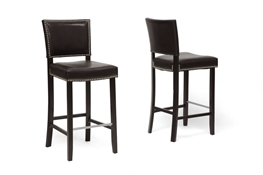 Baxton Studio Aries Dark Brown Modern Bar Stool with Nail Head Trim (Set of 2) Baxton Studio Aries Dark Brown Modern Bar Stool with Nail Head Trim (Set of 2), wholesale furniture, restaurant furniture, hotel furniture, commercial furniture