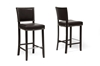 Wholesale Interiors Baxton Studio Aries Dark Brown Modern Bar Stool with Nail Head Trim (Set of 2)