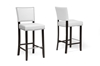Wholesale Interiors Baxton Studio Aries White Modern Bar Stool with Nail Head Trim (Set of 2)