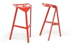 Wholesale Interiors Baxton Studio Kaysa Red Aluminum Modern Bar Stool (Set of 2)
