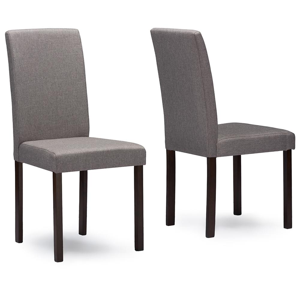 Baxton Studio Andrew Contemporary Espresso Wood Grey Fabric Dining Chair