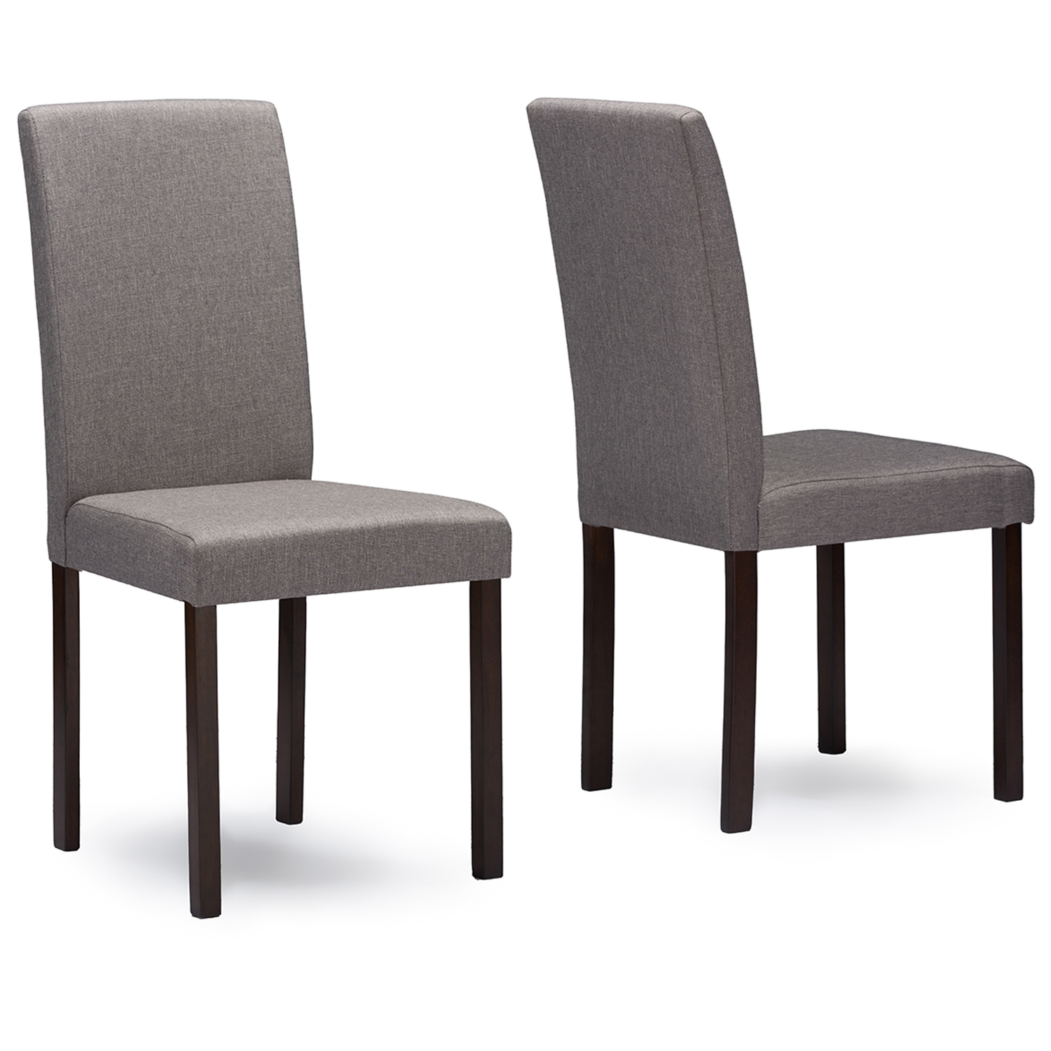 Baxton Studio Andrew Contemporary Espresso Wood Grey Fabric Dining Chair    Andrew Dining Chair Grey ...