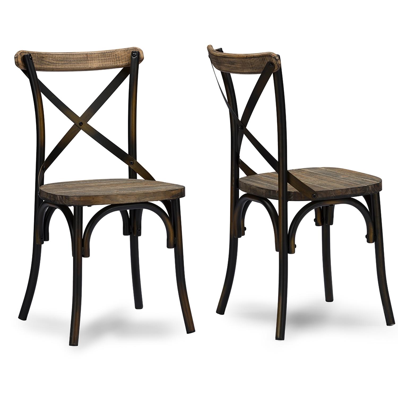 baxton studio konstanze industrial walnut wood and metal dining chair in antique cooper finishing baxton studio - Metal Dining Room Chairs