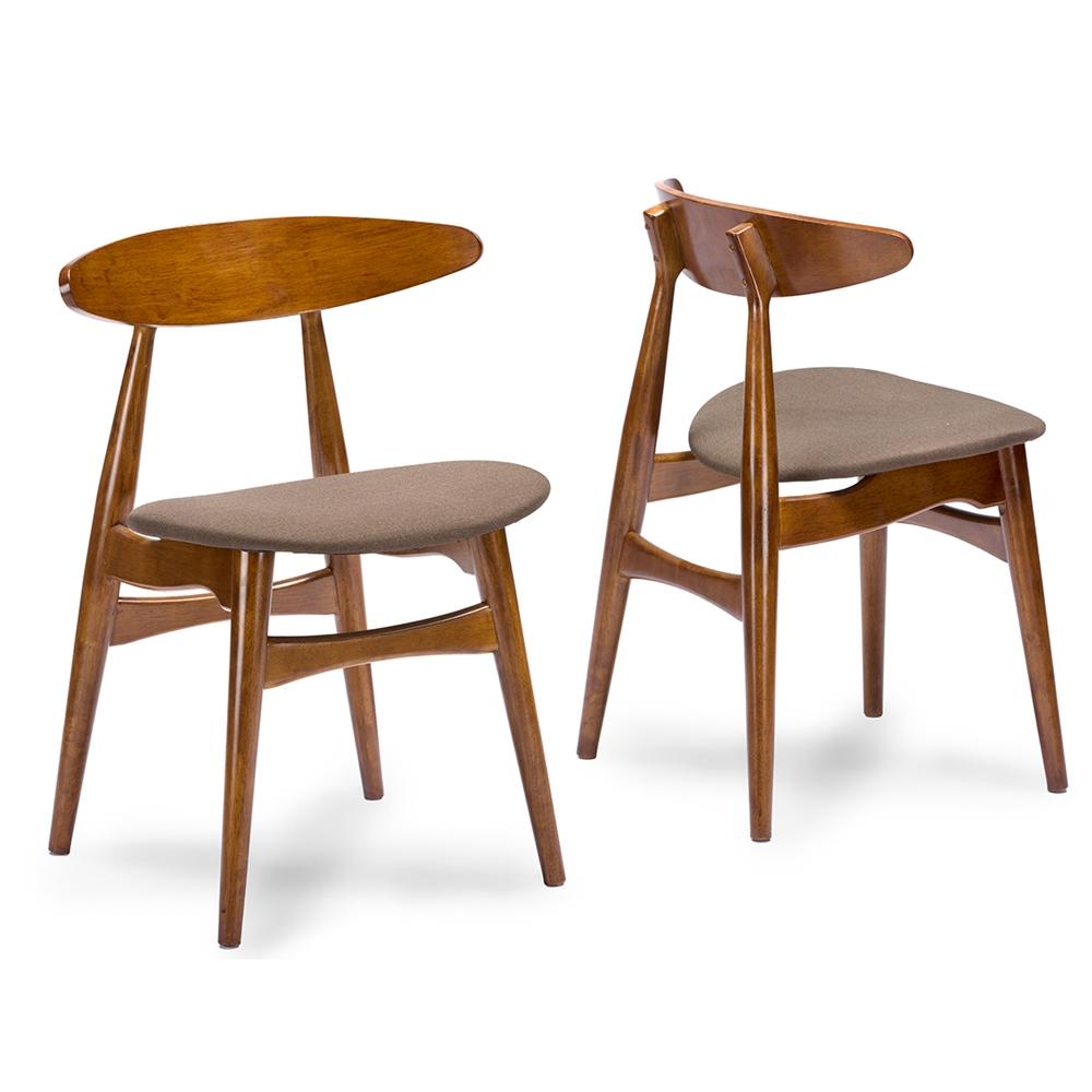Baxton Studio Flamingo Mid Century Dark Walnut Wood Grey Faux Leather Dining Chair