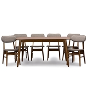 Baxton Studio Sacramento Mid-Century Dark Walnut Wood 7PC Dining Set Baxton Studio restaurant furniture, hotel furniture, commercial furniture, wholesale dining room furniture, wholesale dining sets, classic 7-piece sets