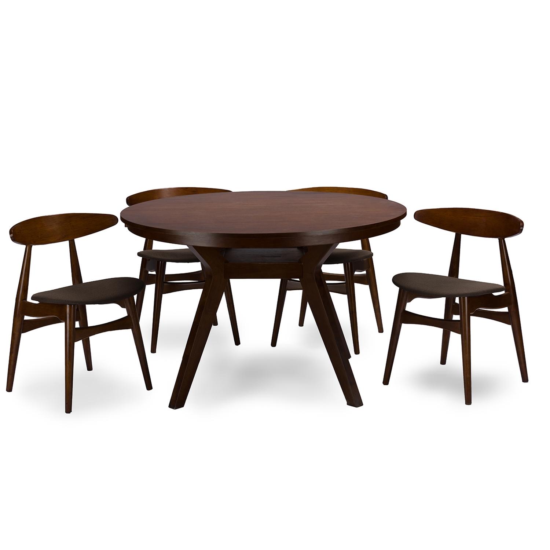 Baxton Studio Flamingo Mid Century Dark Walnut Wood 5PC Dining Set    RT348 326 ...