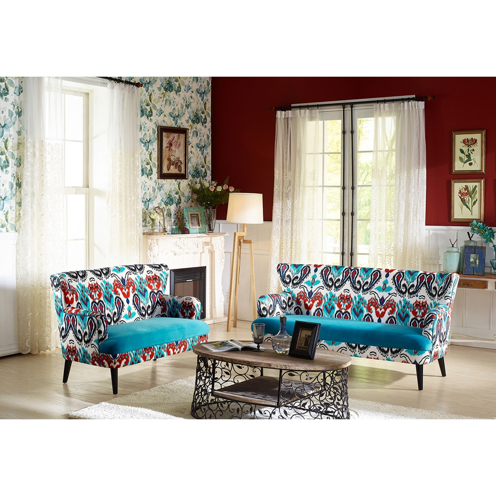 Baxton Studio Lacey Paisley Ikat Sofa With Blue Velvet Seat Tsf 8126 Sf