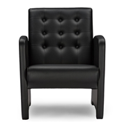 Baxton Studio  Jazz Black Faux Leather Upholstered Club Chair Baxton Studio restaurant furniture, hotel furniture, commercial furniture, wholesale living room furniture, wholesale chairs, classic accent chairs