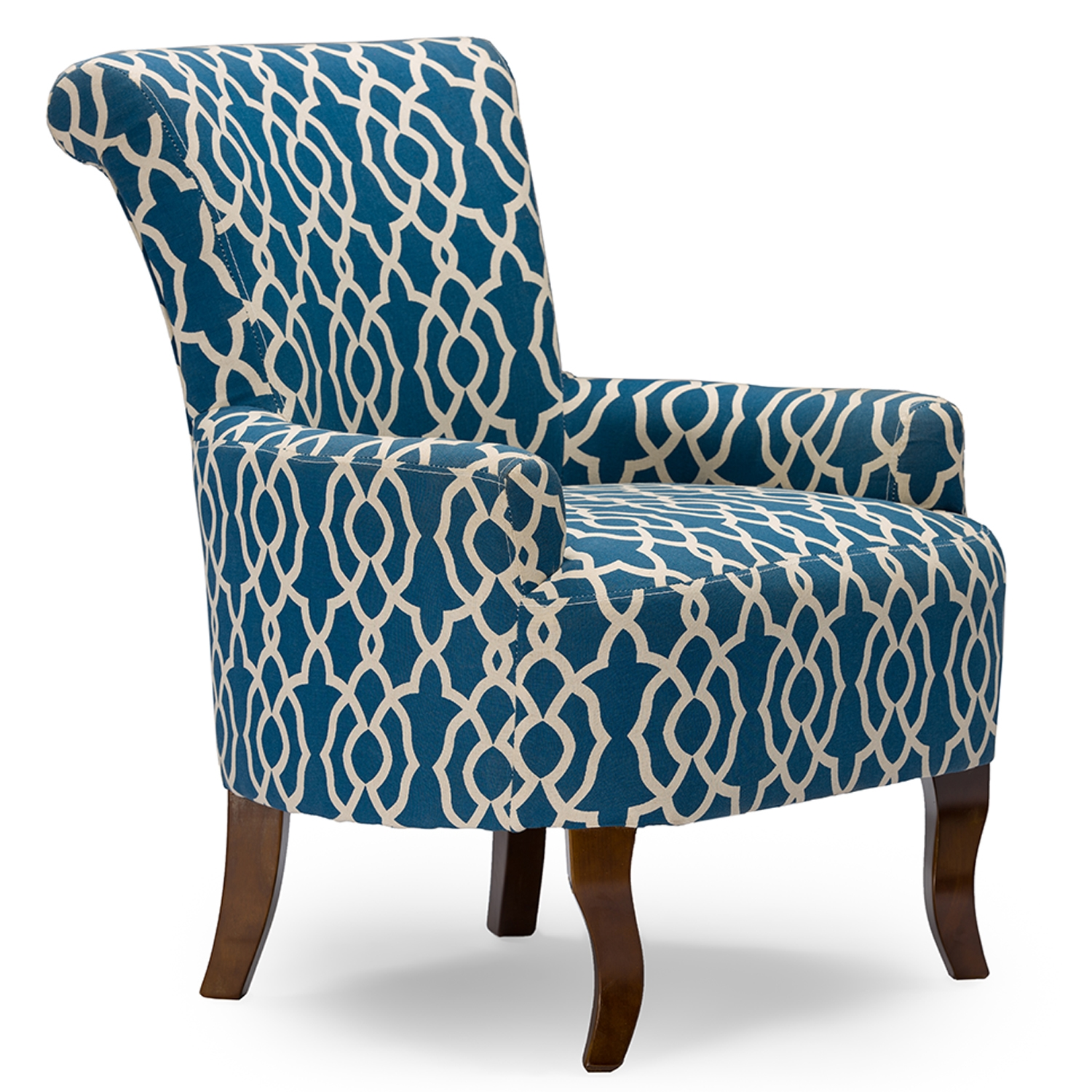 ... Baxton Studio Dixie Contemporary Fabric Armchair   Navy Blue Patterned  Fabric   DO 6287 ...