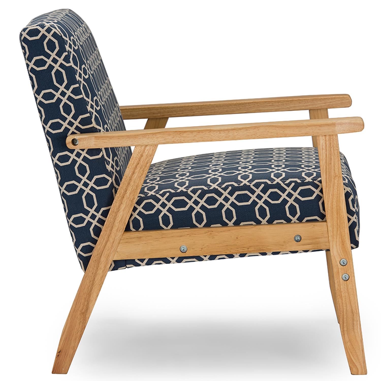 ... Baxton Studio Francis Retro Mid Century Navy Blue Patterned Fabric  Armchair   DO 6307  ...