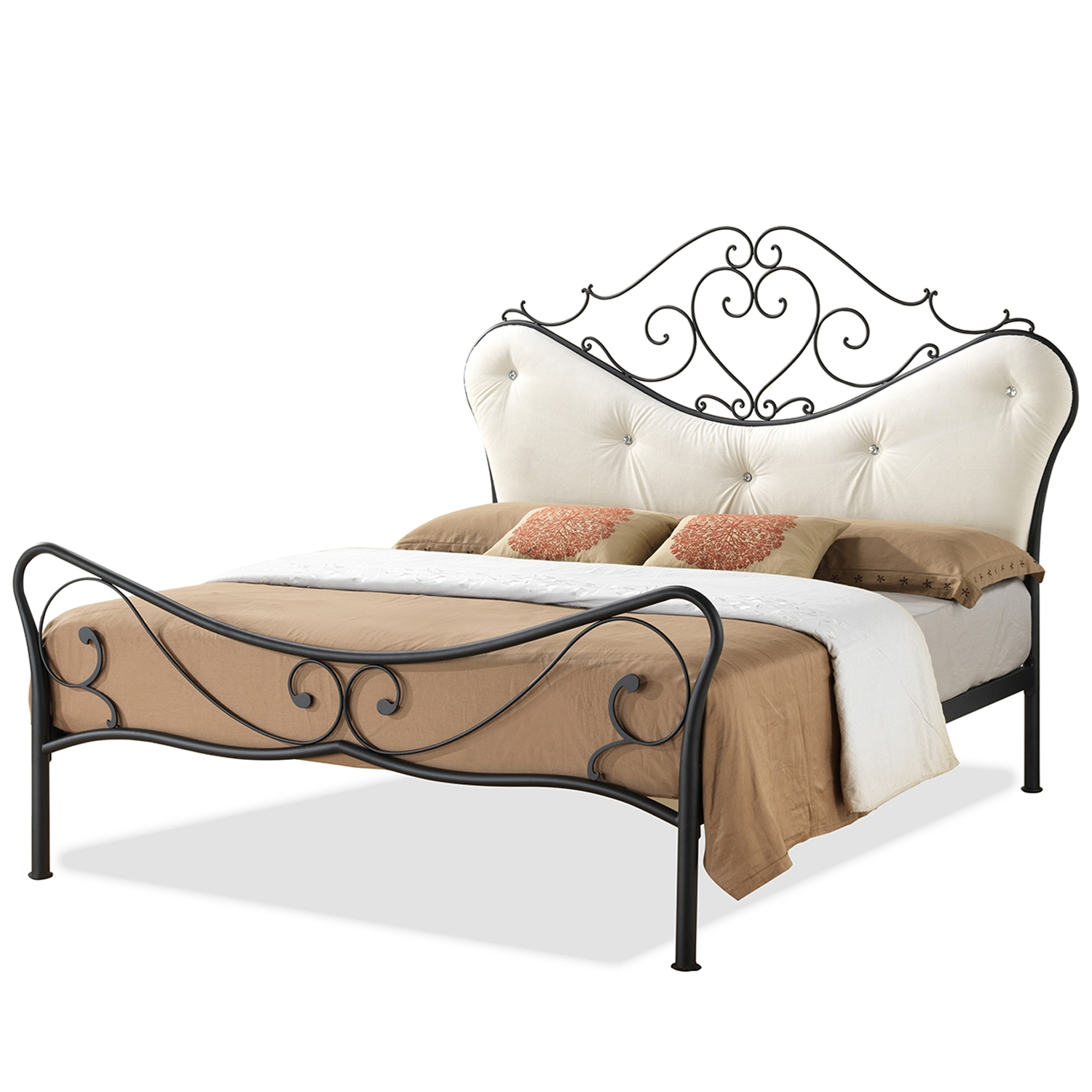 Baxton Studio Alanna Full Size Shabby Chic Metal Platform Bed With Beige  Tufted Headboard   LEN3101 ...
