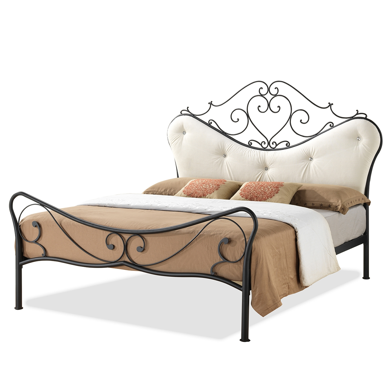Baxton Studio Alanna Queen Size Shabby Chic Metal Platform Bed With Beige  Tufted Headboard   LEN3101 ...