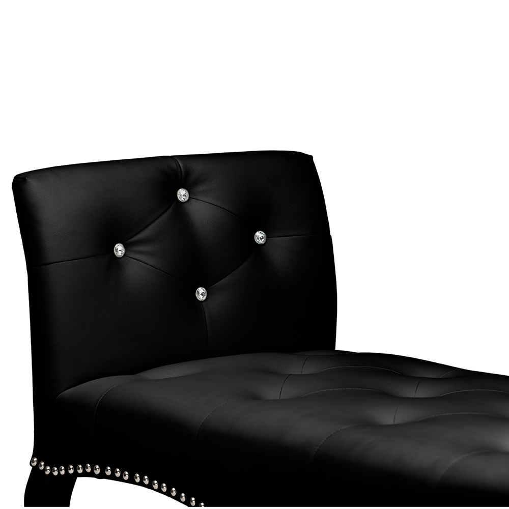Baxton Studio Kristy Modern And Contemporary Black Faux Leather Classic Seating Bench