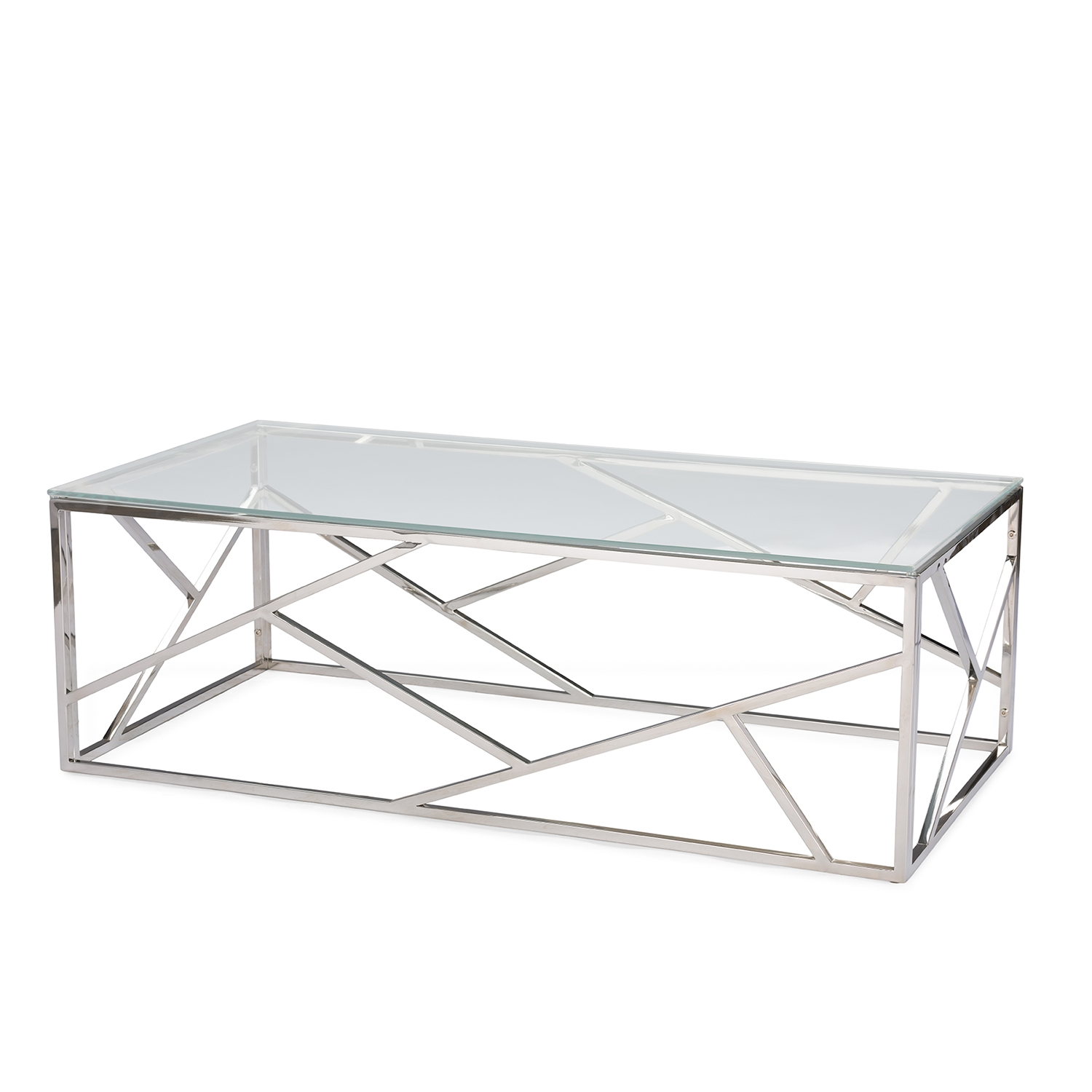 ... Baxton Studio Fiona Modern And Contemporary Stainless Steel Coffee Table  With Tempered Glass Top   GY ...