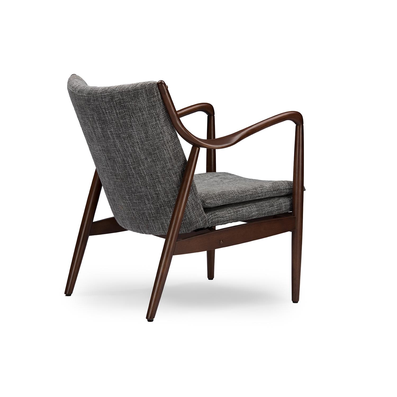 ... Baxton Studio Shakespeare Mid Century Modern Retro Grey Fabric  Upholstered Leisure Accent Chair In Walnut ...