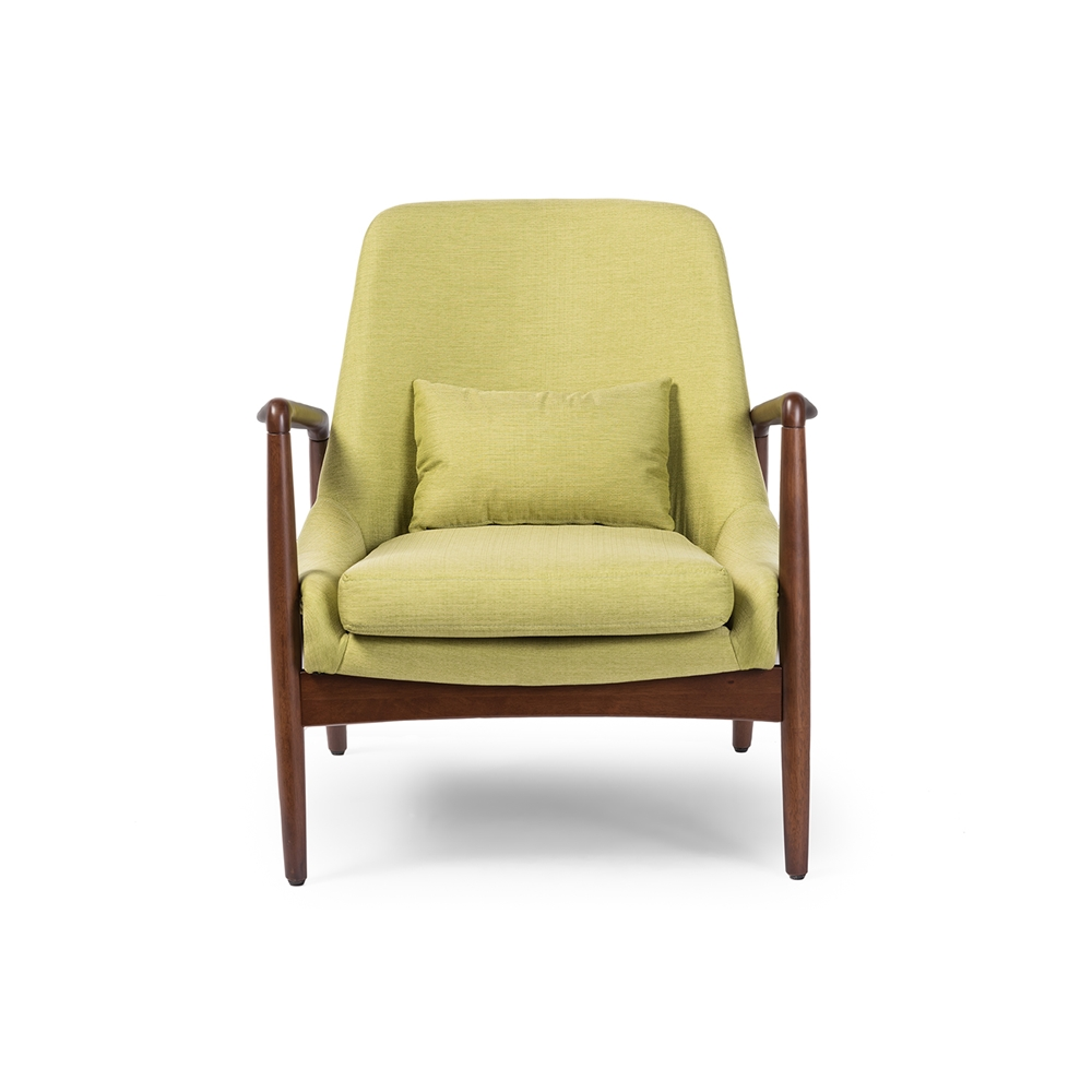 Baxton studio carter mid century modern retro green fabric for Modern accent chairs