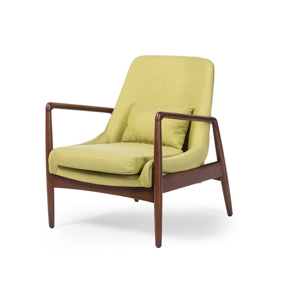 Retro modern chairs - Baxton Studio Carter Mid Century Modern Retro Green Fabric Upholstered Leisure Accent Chair In Walnut Wood Frame