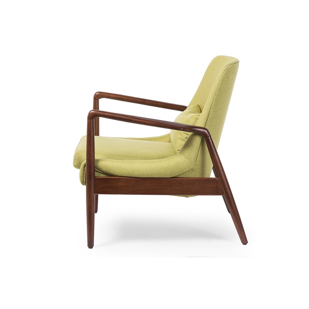 ... Baxton Studio Carter Mid-Century Modern Retro Green Fabric Upholstered  Leisure Accent Chair in Walnut ...