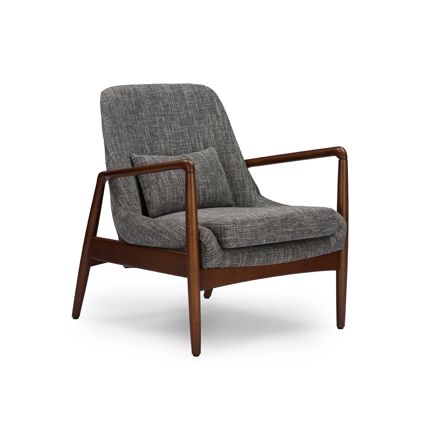 Delicieux Baxton Studio Carter Mid Century Modern Retro Grey Fabric Upholstered  Leisure Accent Chair In Walnut Wood Frame