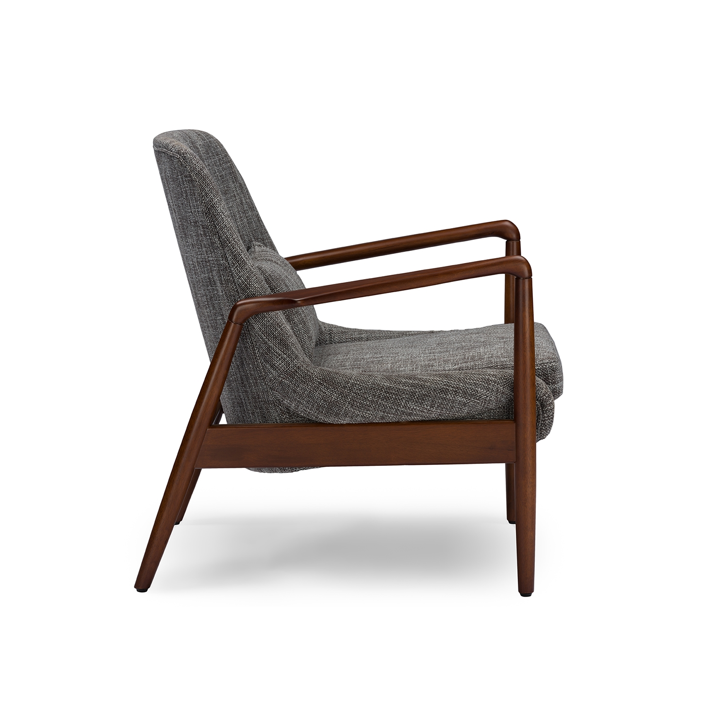 ... Baxton Studio Carter Mid Century Modern Retro Grey Fabric Upholstered  Leisure Accent Chair In Walnut ...