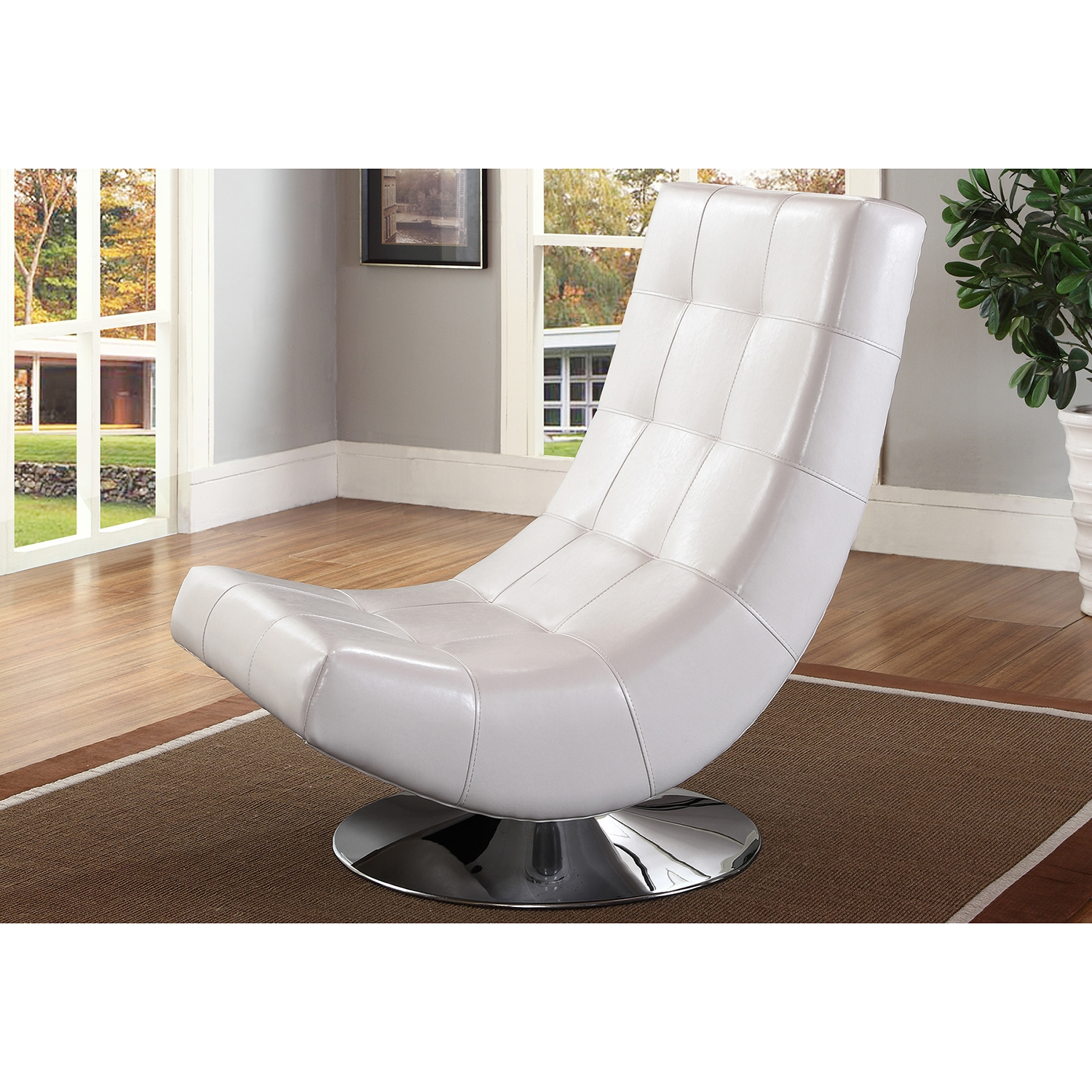 ... Baxton Studio Baxton Studio Elsa Modern And Contemporary White Faux  Leather Upholstered Swivel Chair With Metal