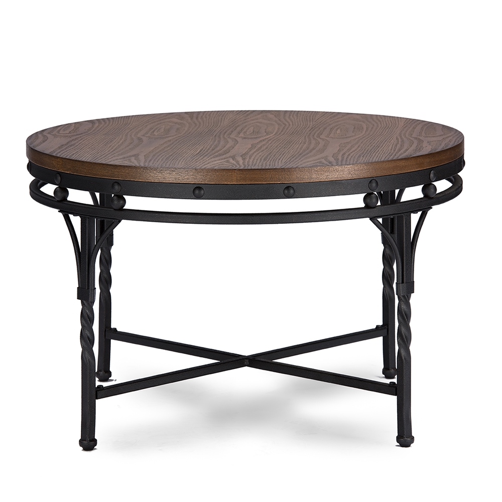 Baxton Studio Austin Vintage Industrial Antique Bronze Round Coffee Cocktail Table And End