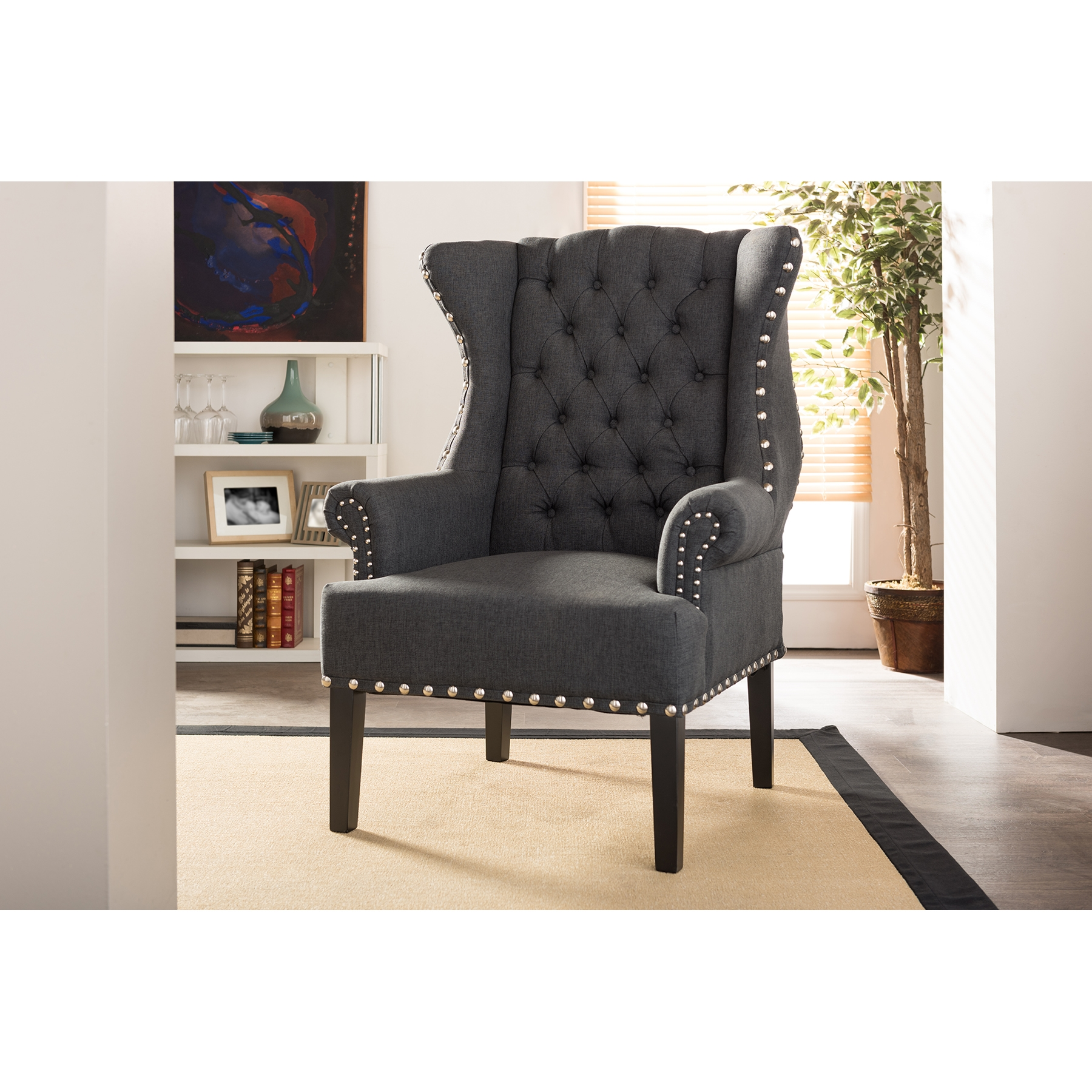 ... Baxton Studio Knuckey French Country Grey Linen Nail Head Wing Back  Armchair   TSF 8132