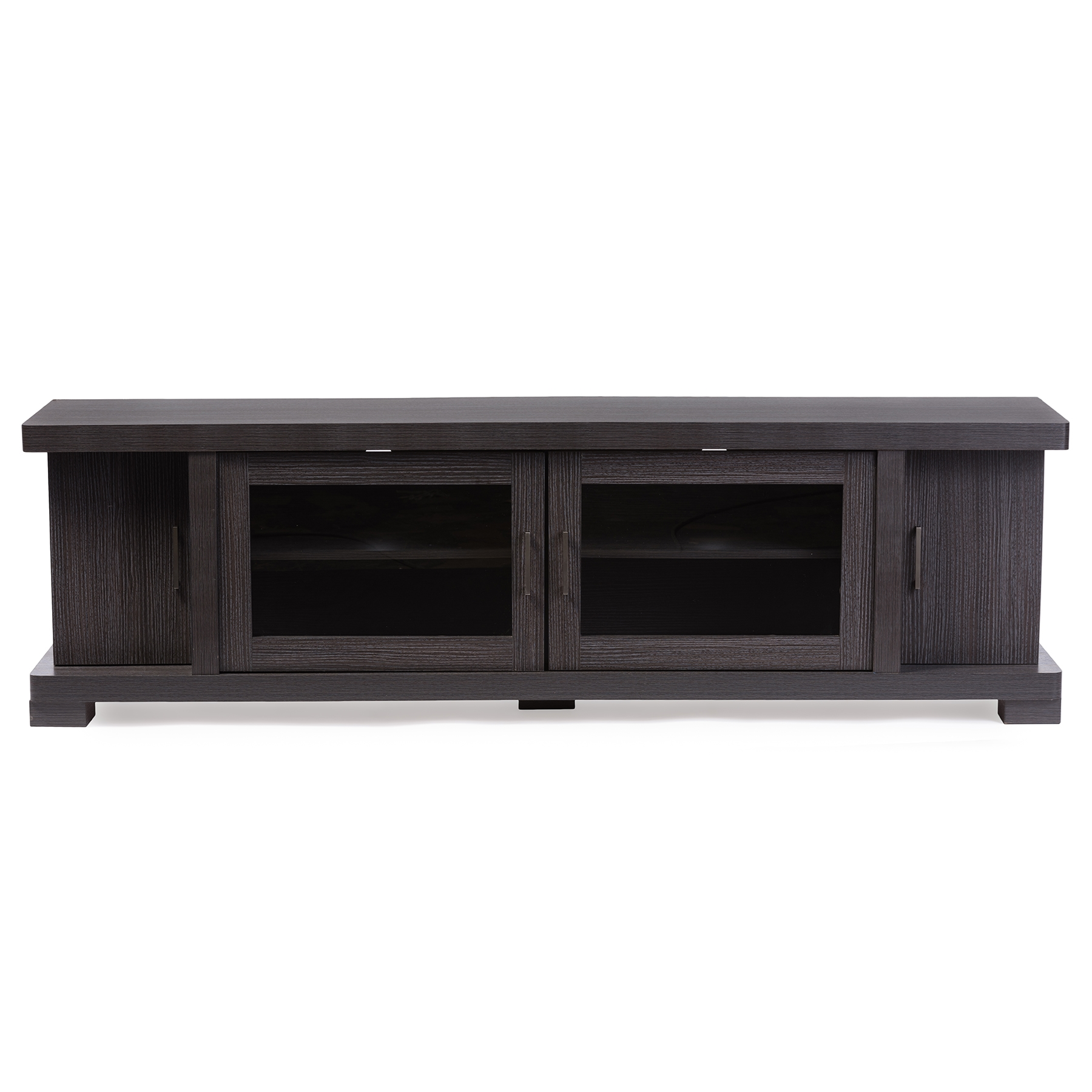 Baxton Studio Viveka 70 Inch Dark Brown Wood TV Cabinet With 2 Glass Doors  And ...
