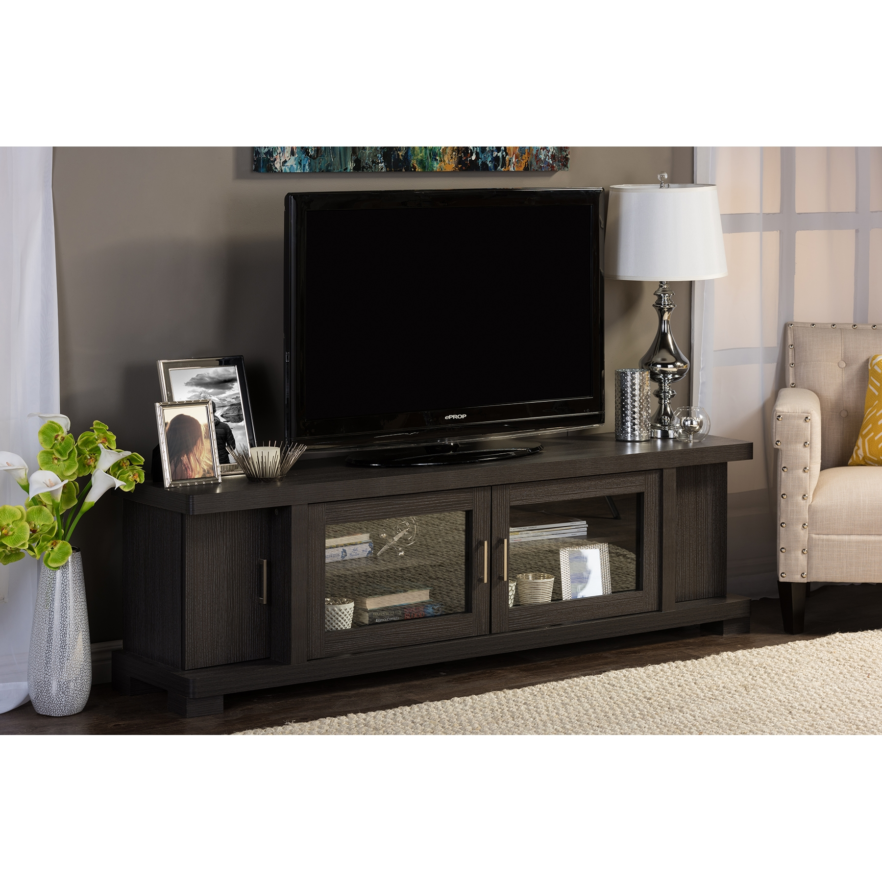 ... Baxton Studio Viveka 70 Inch Dark Brown Wood TV Cabinet With 2 Glass  Doors And