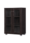 Baxton Studio Mason Modern and Contemporary Dark Brown Multipurpose Storage Cabinet Sideboard with Two Class Doors Baxton Studio restaurant furniture, hotel furniture, commercial furniture, wholesale bathroom furniture, wholesale bathroom storage, classic storage compartment