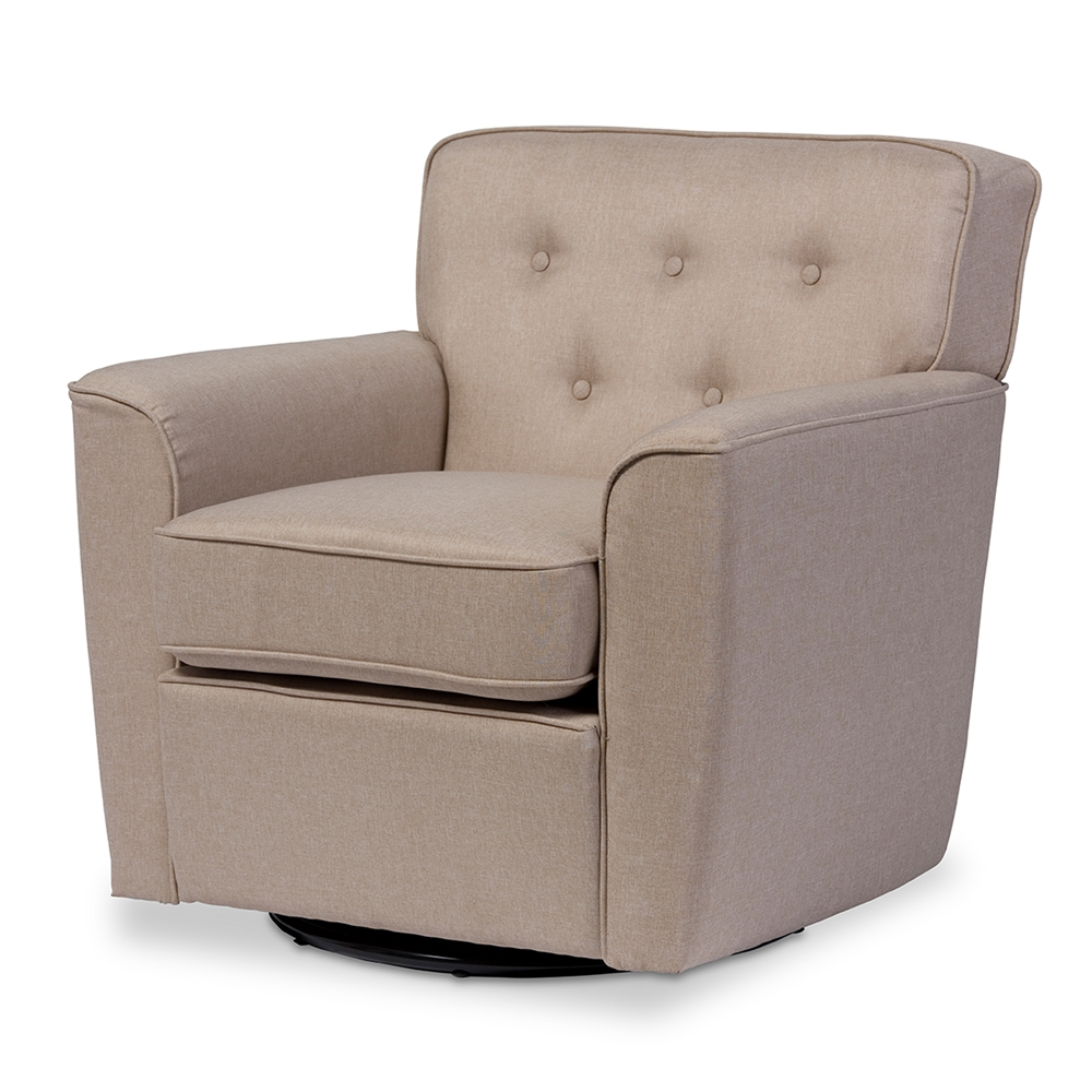 Baxton Studio Canberra Modern Retro Contemporary Beige Fabric Upholstered  Button-tufted Swivel Lounge Chair with ... - Wholesale Accent Chair Wholesale Living Room Furniture
