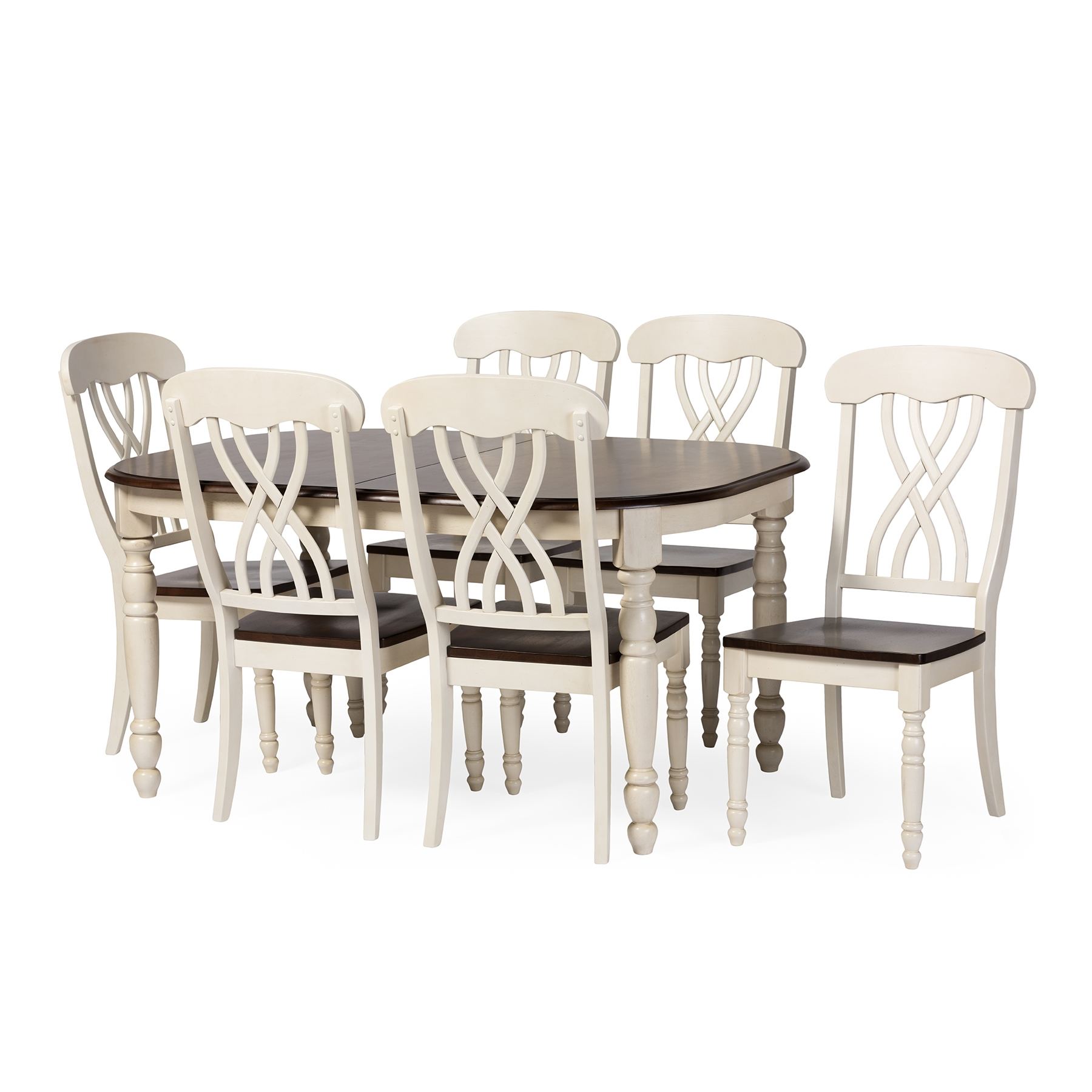 Charmant Baxton Studio Newman Chic Country Cottage Antique Oak Wood And Distressed White  7 Piece Dining ...