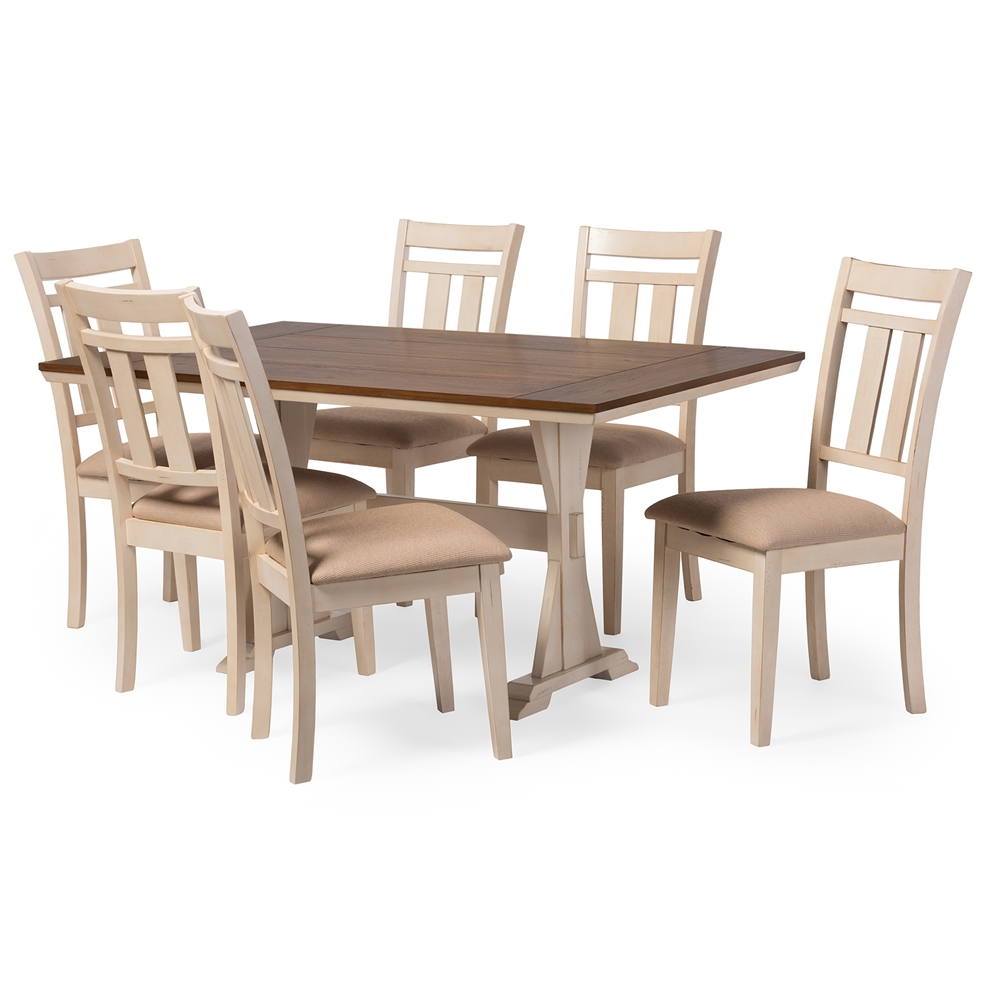 Baxton Studio Roseberry Shabby Chic French Country Cottage Antique Oak Wood And Distressed White 7 Piece Dining Set With Trestle Base 60 Inch Fixed Top